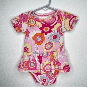 Baby Lulu ruffle skirt onesie pink flowers sz 3m